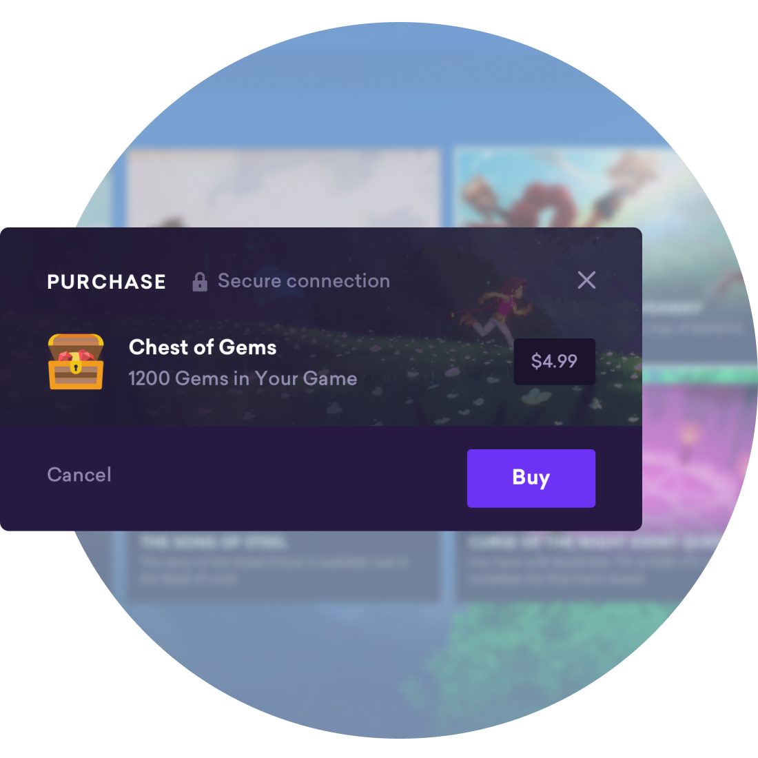Trail in-game purchase modal